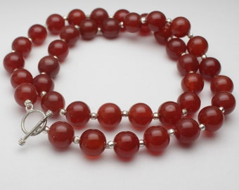 Red Agate 10 mm Bead Necklace with Faceted Sterling Silver Bead  - NC04S