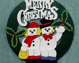 Snowman Merry Christmas Wreath