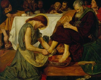 """Jesus Washing Peter's Feet by Ford Madox Brown, 8""""x9"""", Giclee Print on Canvas"""