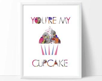 Cupcake art, Colour Print,baby nursery decor, baby gift,  food art  digital poster print, cupcake art, nursery art, bright colours