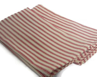Red French Ticking napkins, Set of 2 napkins, Cotton napkins, Red Stripe napkins, country napkins, shower gift, housewarming gift,