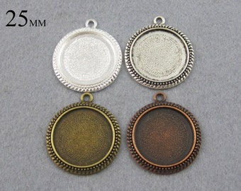 25 Pieces 25mm Cameo Setting, Bezel Pendant Blanks, 25mm Cabochon Settings  - Silver, Bronze, Copper, Antique Silver