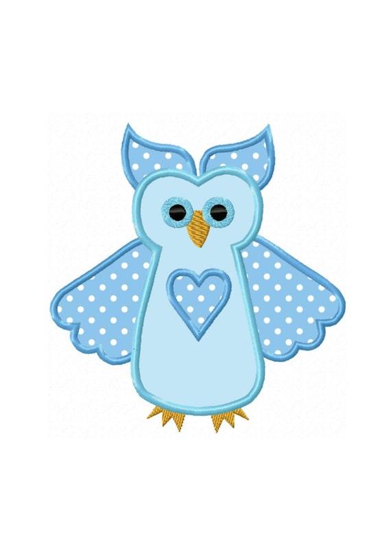 machine embroidery owl applique