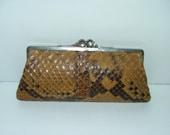 Sale 20% Off // Vintage 1930s real snakeskin reptile lizard python clutch bag purse handbag // Coupon Code SALE20