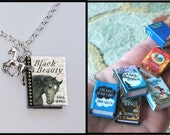 Black Beauty - with Tiny Horse Charm - Micro Mini Book Necklace
