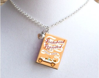 Brideshead Revisited with Tiny Heart  Charm - Miniature Book Necklace