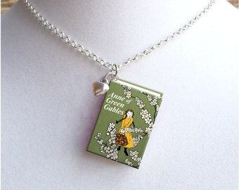 Anne Of Green Gables with Tiny Heart Charm -Style 2 - Miniature Book Necklace