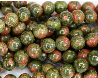 Unakite Natural Gemstone - 8mm Rounds - Pack 25