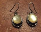 Vintage Sterling Silver Moonstone Earrings 925 Dangle Jewelry