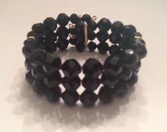 Vintage Black Glass Bead Wire Wrap Cuff Bracelet