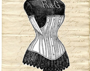 Vintage Style Note Cards Corset Dress Form Set of 10 notecards