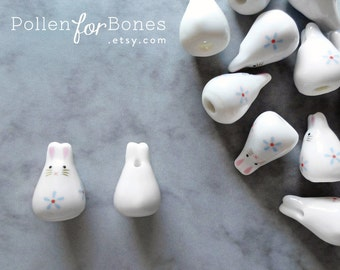 2pcs ∙ Blue Porcelain Bunny Bead Ceramic Animal Beads Rabbit Zodiac Jewelry Supplies