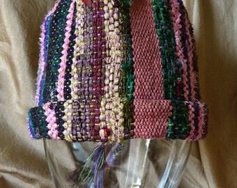 Handwoven Saori-style Hat - Dark Stripes