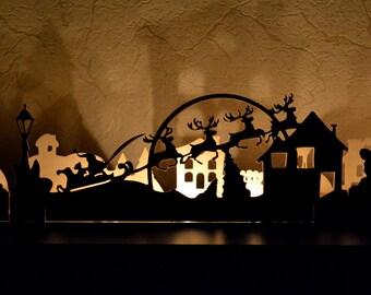 Christmas ornament, Christmas town, fireplace decor, window decor, Santa Claus deer Rudolf, Christmas tree