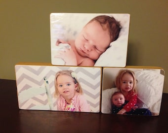 Custom Photo Gift, Free Standing Cedar Wood Photo Block Set
