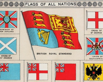 Antique Print, Flags of all Nations. Published 1890s, Lovely Bright Colours