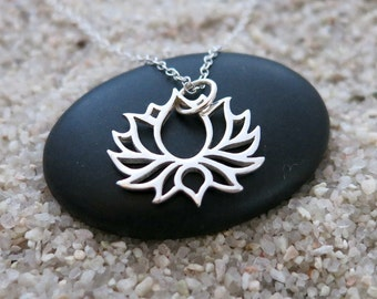 Lotus Necklace, Sterling Silver Blooming Lotus Flower, Yoga Jewelry