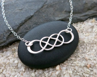 Double Infinity Necklace, Sterling Silver Infinity Pendant, Simple Jewelry