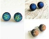 10mm flat back ball cabochon earrings resin rhinestone half bead in Peacock Blue  green and Rose Gold stud  Post  earrings