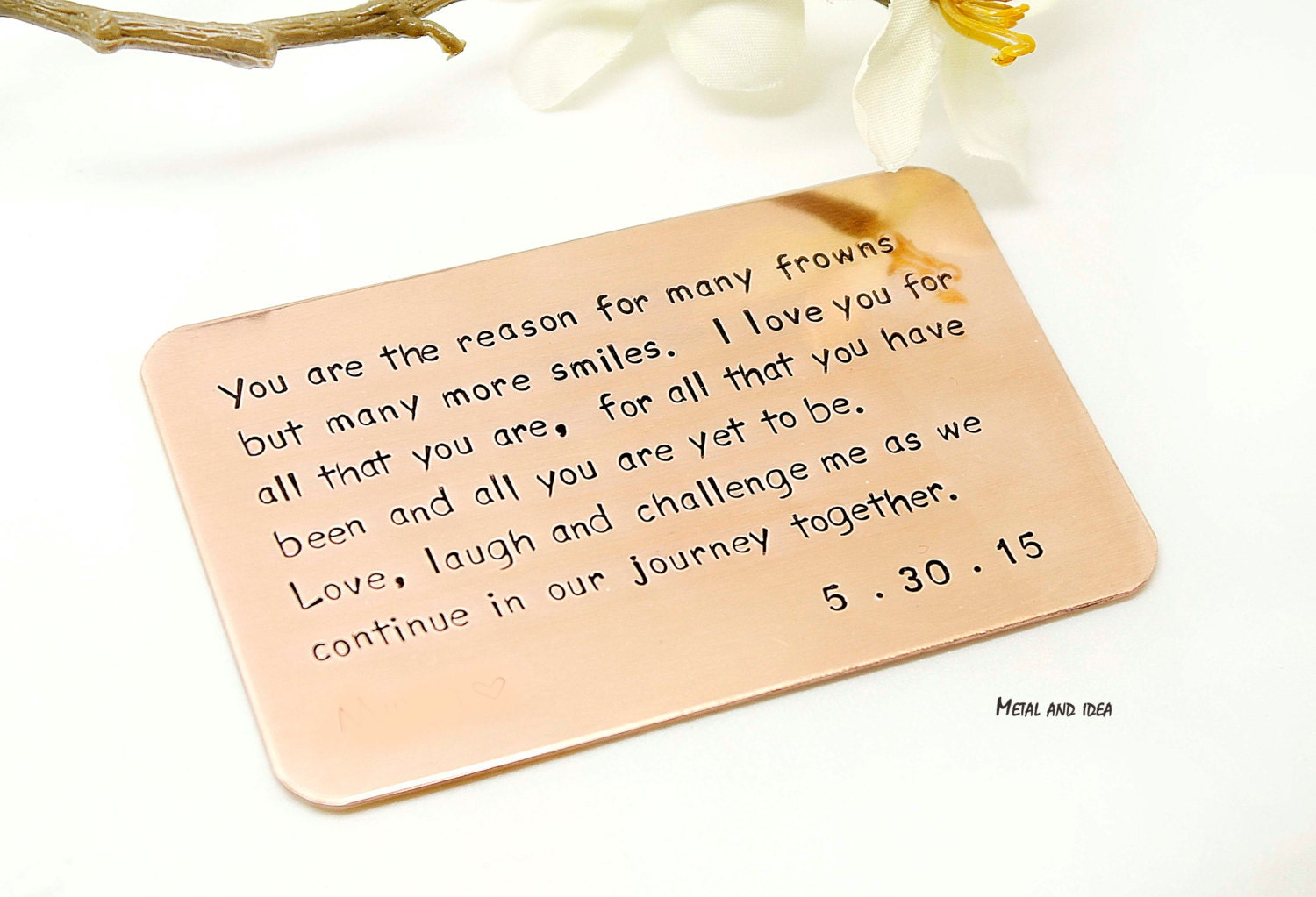 Gift For My Husband On Our Wedding Day: Hand Stamped Wallet Insert Card Customized Personal Messages
