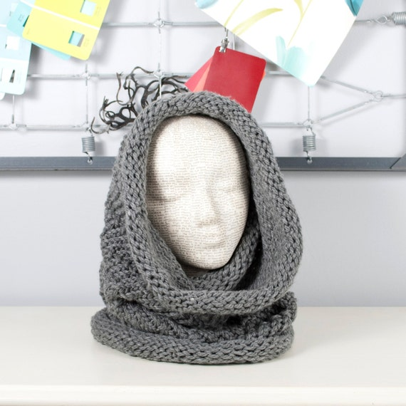 Knit Hooded Scarf Cowl Hood Cowl Scarf Neck Warmer
