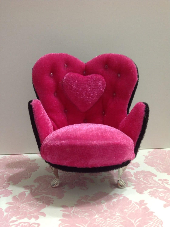 Dollhouse furniture hot pink black velvet by for Black and pink furniture