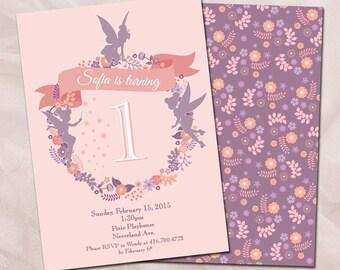 Silhouette Fairy 1st Birthday Girl Invitation/DIY Printable