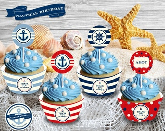 Nautical Birthday Party Theme - Personalized Cupcake Wrappers/Cupcake Toppers Printable/DIY Printable