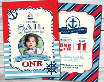 Nautical 1st Birthday Boy Photo Invitation/Printable Invitation