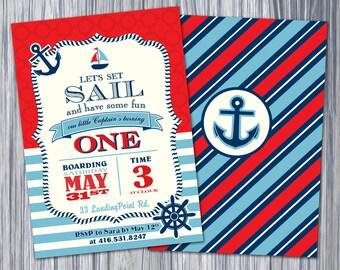 Nautical 1st Birthday Invitation, Nautical Invite, Printable Invitation, Birthday Invitation,