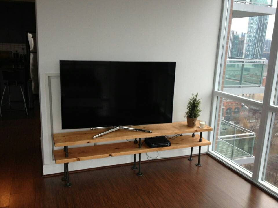 Industrial Pipe And Wood Tv Stand Entertainment Unit