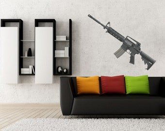 Assault rifle bushmaster vinyl wall decal/sticker