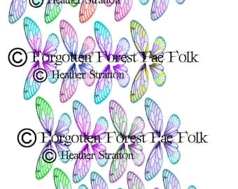 Assorted coloured double fairy wings