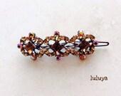 Brown Gold Topaz High Quality Crystal Rhinestone Hair Clip French Barrette Flower Birthday Gift Wedding