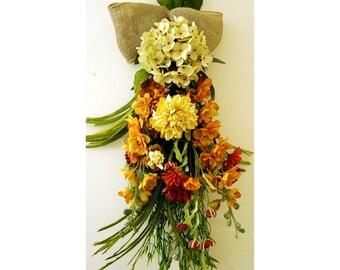 Door Wreath SPRING Summer Wreath, Teardrop Wreath Flowers ,Hydrangea  Chrysanthemum Wild Flowers Large Swag 31 long
