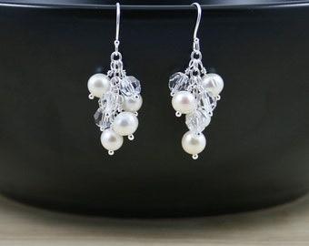 Sterling Silver, Freshwater Pearl & Swarovski Crystal Cluster Earrings. Ivory Beaded Drop Earrings. White Bridesmaid Gift. Bridal Jewellery