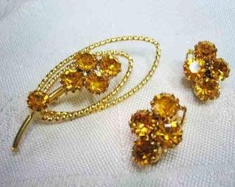 Vintage Prong Set Topaz Rhinestone Brooch Earrings