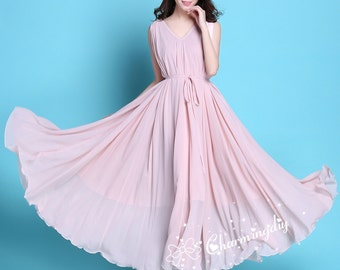 60 Colors Chiffon Pink Long Party Dress Evening Wedding Sundress Maternity Dress Summer Holiday Beach Dress Bridesmaid Dress Maxi Skirt J011