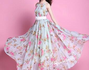 60 Colors Chiffon Butterfly Pink Flower Long Party Evening Wedding Lightweight  Maternity Dress Sundress Summer Dress Bridesmaid  Maxi Skirt