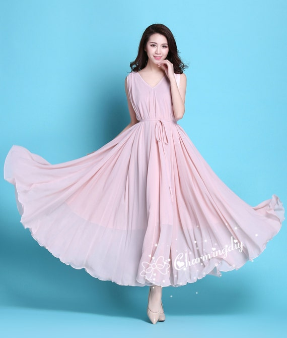 60 Colors Chiffon Pink Long Party Dress Evening Wedding