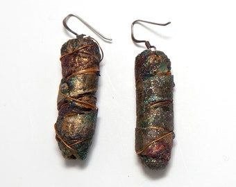 Fabric and paper earrings