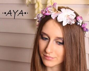 Boho flower crown rim hair accessories girl bridesmaid wedding bridal halo woodland garland fairy floral headband headpiece circlet