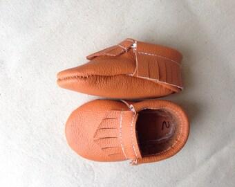 Orange Dream Leather Baby Toddler Moccasins Moccs