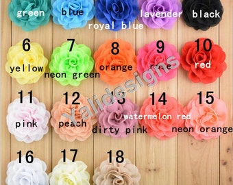 U Pick! 8CM 3.1'' inch 3D Chiffon Rose Flower For Girls Headband Accessories DIY Fabric Headband Shoes Accessories-Mixed Color-YTA56