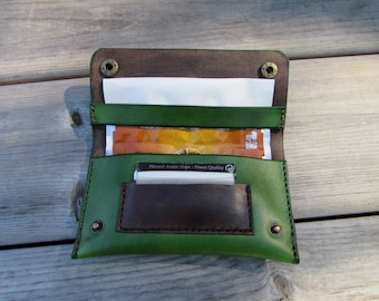 leather tobacco pouch green
