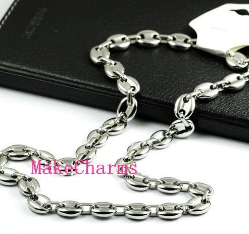 8 cm 40 cm 9 mm gl nzend feld kaffeebohnen link kette. Black Bedroom Furniture Sets. Home Design Ideas