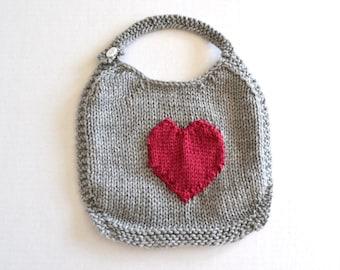 Hand Knit Baby Bib - Gray with Knit Dark Raspberry Heart Appliqué - Ready to Ship