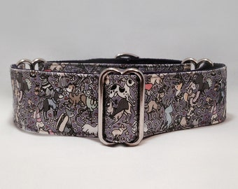 "1.5 inch Martingale Collar, ""Fancy Dress"" Designed By Elspeth Rose, Paint My Greyhound! Martingale Collar, Greyhound Martingale Collar"