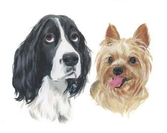 """8x10"""" // Custom Double Dog Portrait // Original Gouache Painting on Archival Watercolor Paper"""