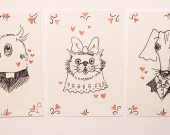 Original ACEO card drawings Love theme